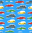 cartoon color cars covered snow seamless pattern vector image vector image