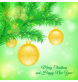 Christmas tree branch with Christmas toys vector image vector image