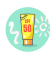 circle icon depicting spf sunscreen lotion vector image vector image