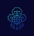 cloud network line icon on dark vector image