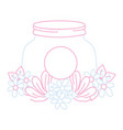 color line mason glass with flowers and leaves vector image vector image