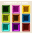 colors square Wooden box app icons vector image