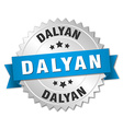 Dalyan round silver badge with blue ribbon vector image vector image