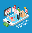 donation online isometric composition vector image vector image