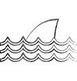 Figure nature ocean waves with shark animal