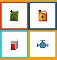 flat icon fuel set of flange fuel canister vector image vector image