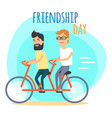 friendship day two best friends on double bicycle vector image vector image