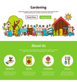 Gardening Flat Outline Web Design Template vector image vector image