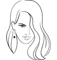 Girl Face with Beautiful Hair Sketch vector image