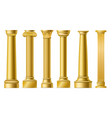 golden columns classic antique gold pillars vector image vector image