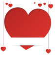 greeting card with heart in paper style with vector image vector image