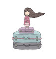 happy travel cute cartoon girl dog and suitcases vector image vector image
