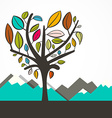 Heart Shaped Tree with Colorful Leaves Flat Design vector image