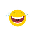 laughing emoticon with tears joy vector image vector image