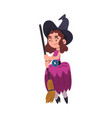 lovely girl witch standing with broomstick wearing vector image vector image
