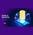 mobile banking web banner vector image vector image