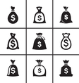 Money bags icon set vector image vector image