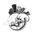 month city skull 0001 vector image