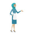 muslim cleaner with arm out in a welcoming gesture vector image vector image