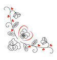 pansy flowers heart curls valentines day vector image vector image
