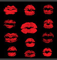 red lips track print set stamp of mouth vector image