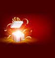 red opened 3d realistic gift box with magical vector image