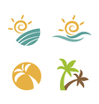 Set logos beach summer vector image