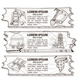 set of three banners treasure hunters prospectors vector image vector image