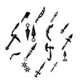 steel arms items icons set simple style vector image vector image