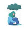 unhappy girl woman sitting under raining cloud vector image vector image