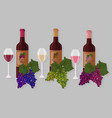 wine bottles sets white wine rose vector image vector image