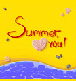 with sign summer love you vector image vector image