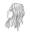 women s hairstyle for long hair black outline vector image vector image