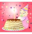 One birthday celebrate cake baby vector image