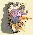 active old granny pensioner breaks wall of vector image