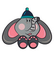 baby elephant with cap or color vector image