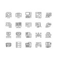 big data line icons signs set outline vector image vector image