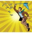 Business man catching money with a butterfly net vector image vector image
