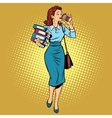 Business woman drinking coffee on the go vector image