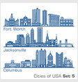 cities usa - fort worth jacksonville columbus vector image vector image