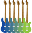 colourful bass guitars vector image vector image