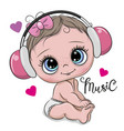 cute cartoon baby girl with headphones on a white vector image vector image