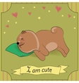 Cute Sleeping Dog Chow-chow with pillow vector image