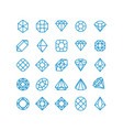 diamond line icons woman brilliant jewelry vector image