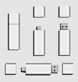 Dual USB Micro USB and USB flash drive vector image vector image