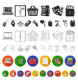 e-commerce purchase and sale flat icons in set vector image