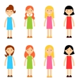 Flat Cartoon Girl Characters Collection vector image