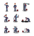flat set with welder in different actions vector image