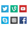 flat social media icons vector image