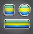 Gabon flag glass buttons vector image vector image